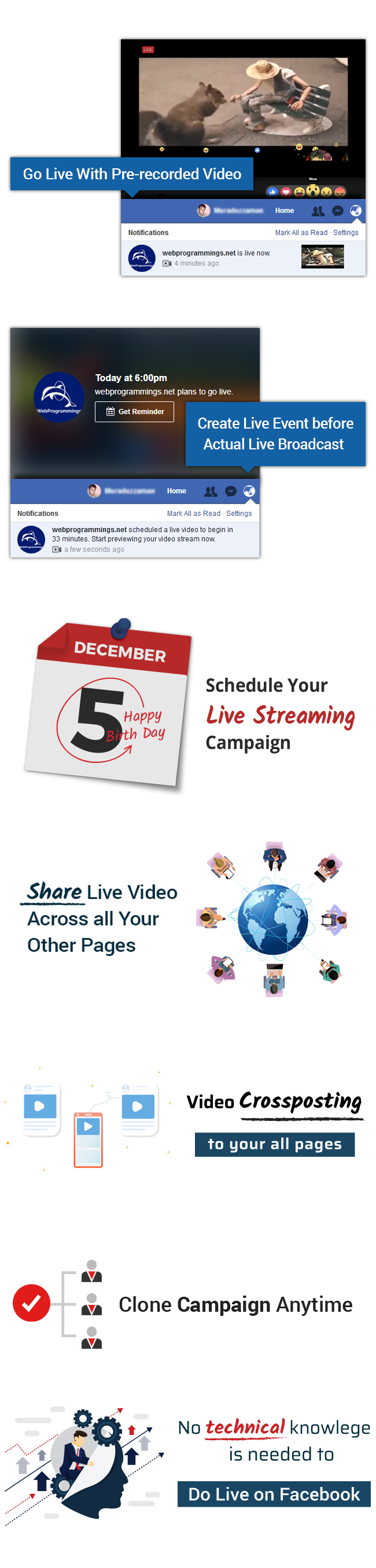 VidCasterLive - A XeroChat Add-on : Facebook Live Streaming With Pre-recorded Video - 5
