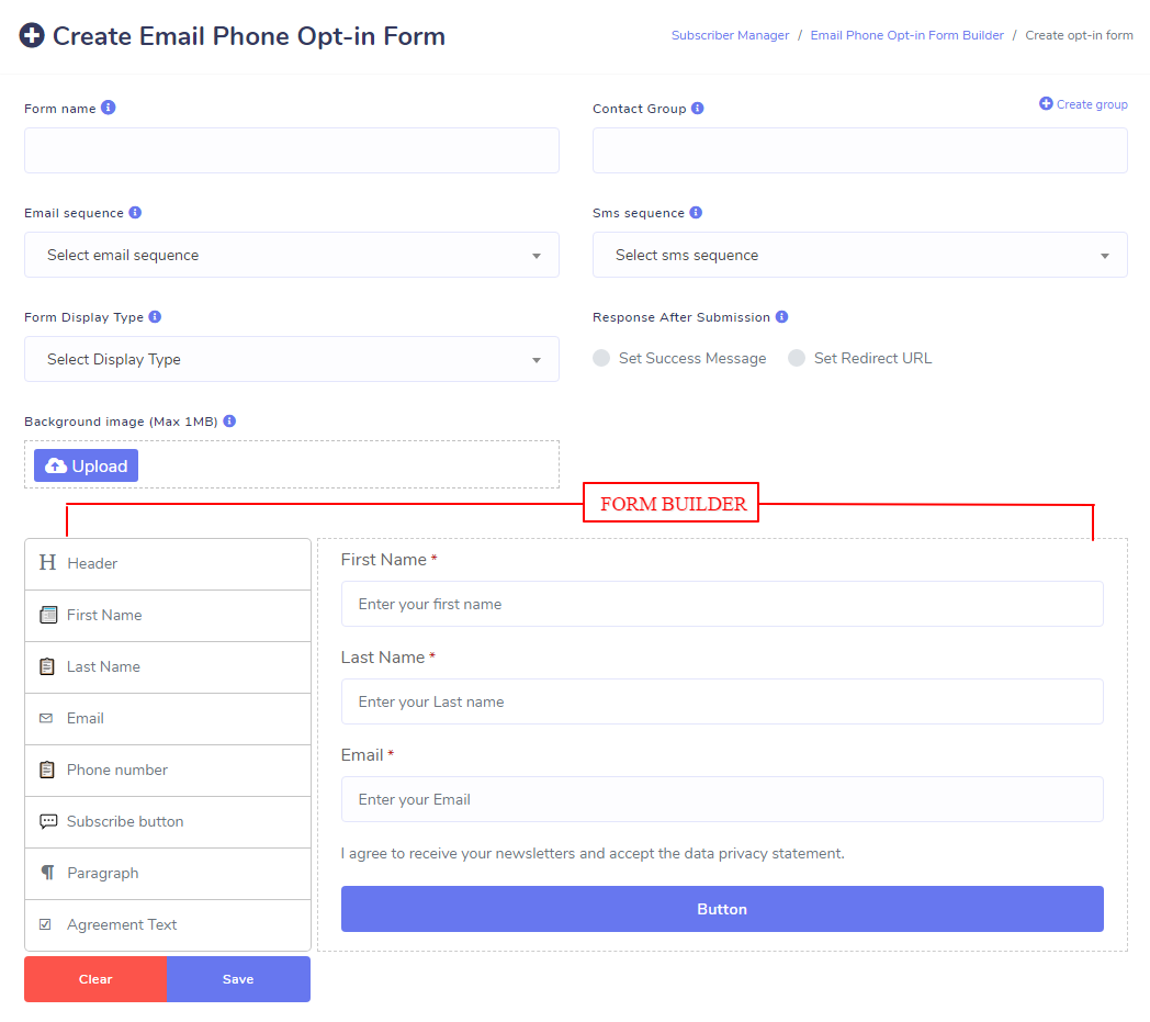 Email Phone Opt-in Form Builder