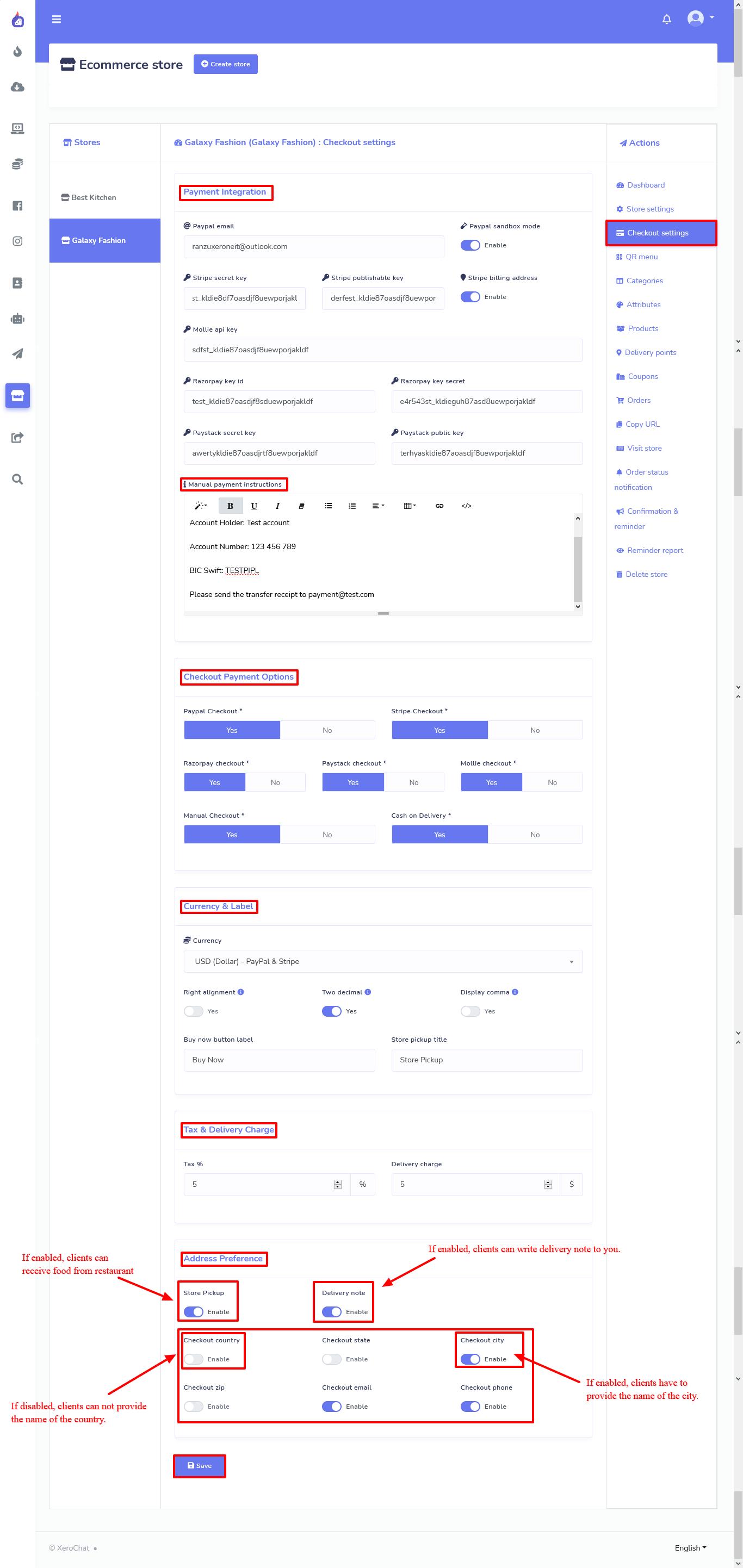 Screenshot of making the checkout setting.