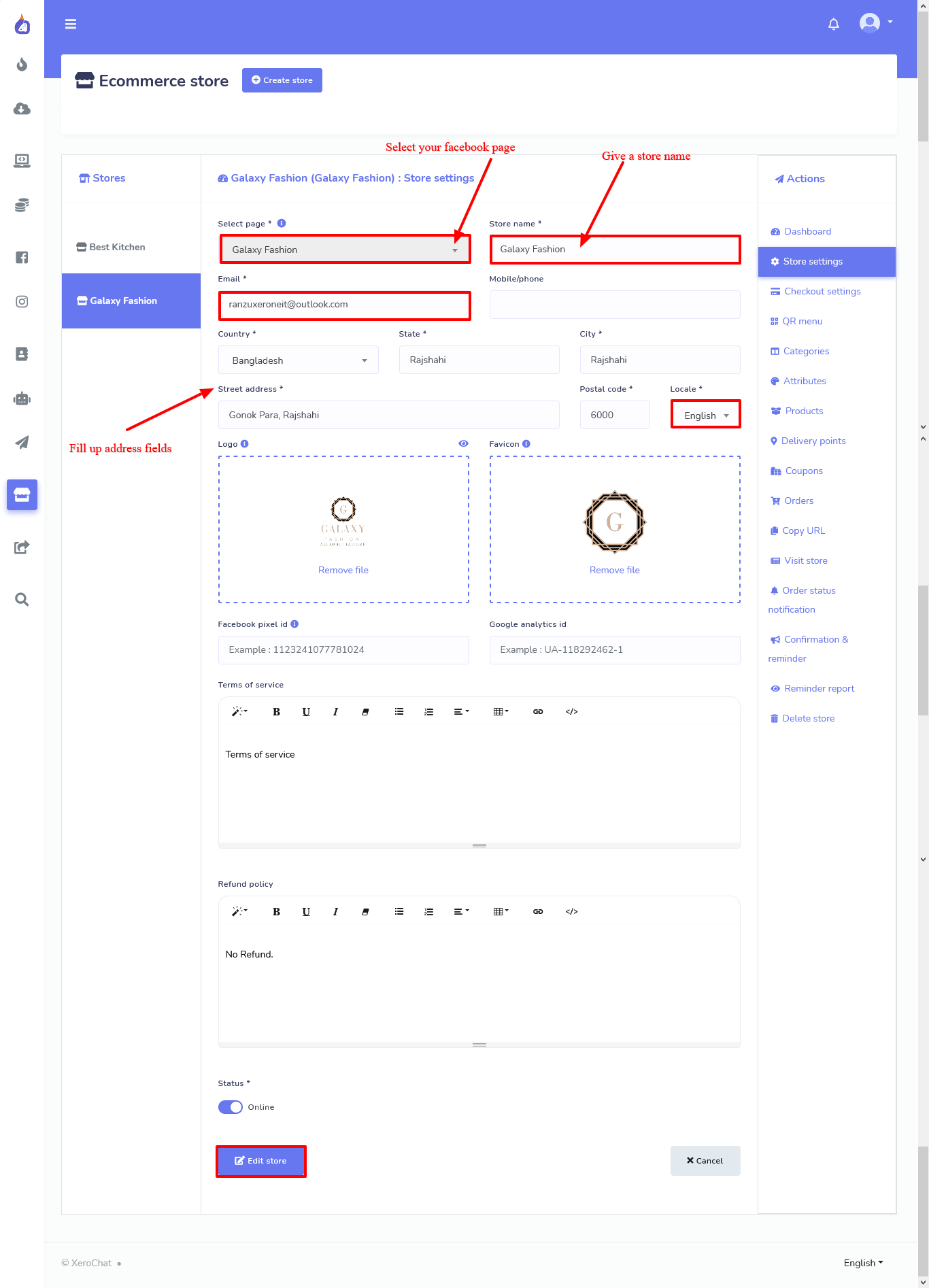 filling out a form to create a store