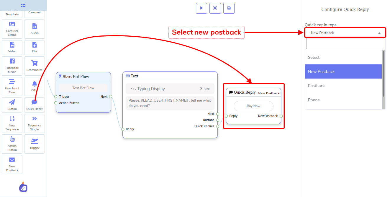 Quick Reply dropdown-menu