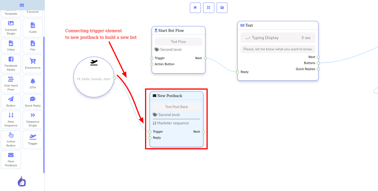 connecting new postback