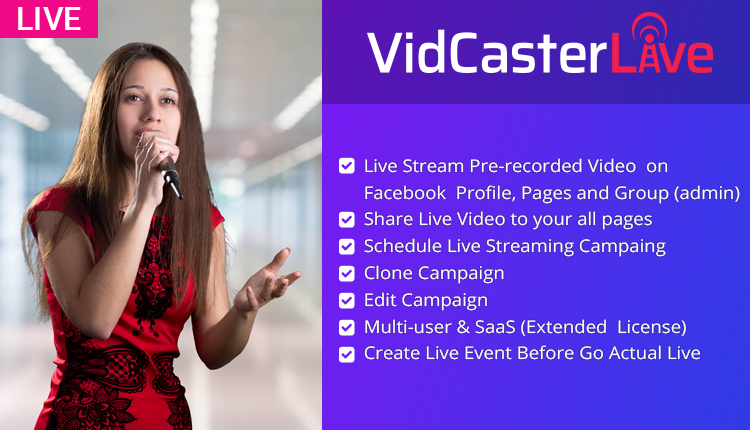 VidCasterLive - Facebook Live Streaming With Pre-recorded Video
