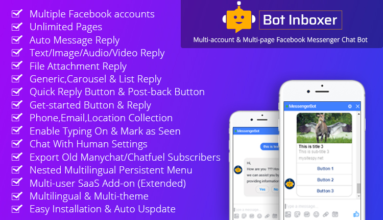 Bot Inboxer - A EZ Inboxer Add-on : Multi-account & Multi-page Messenger Chat Bot for Facebook
