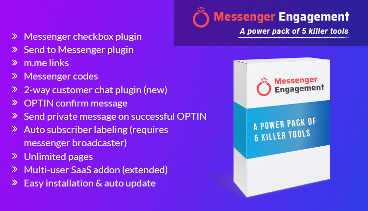 Messenger Engagement - A Bot Inboxer Add-on : A Power Pack of 5 Messenger Engagement Tools